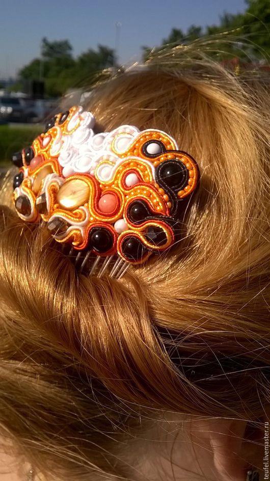 """Заколки ручной работы. Ярмарка Мастеров - ручная работа. Купить гребень """"Лиса"""". Handmade. Оранжевый, лисичка, гребень для волос, сутаж"""