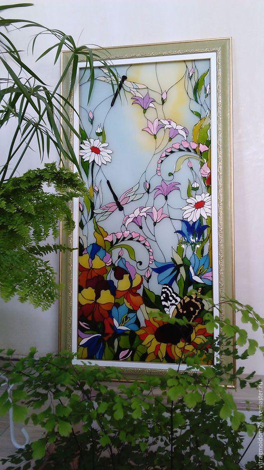 Картины цветов ручной работы. Ярмарка Мастеров - ручная работа. Купить Картина на стекле Цветы лета. Handmade. Комбинированный