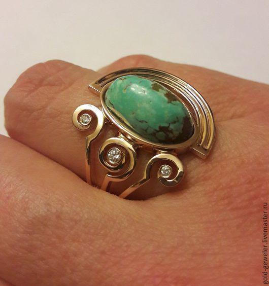 Кольцо с натуральной бирюзой и бриллиантами. Ювелирная мастерская Pacho.