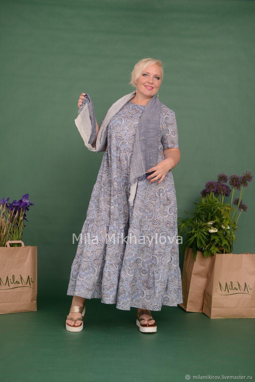Dress with short sleeves tiered Batiste Paisley. Art. 3543, Dresses, Kirov,  Фото №1