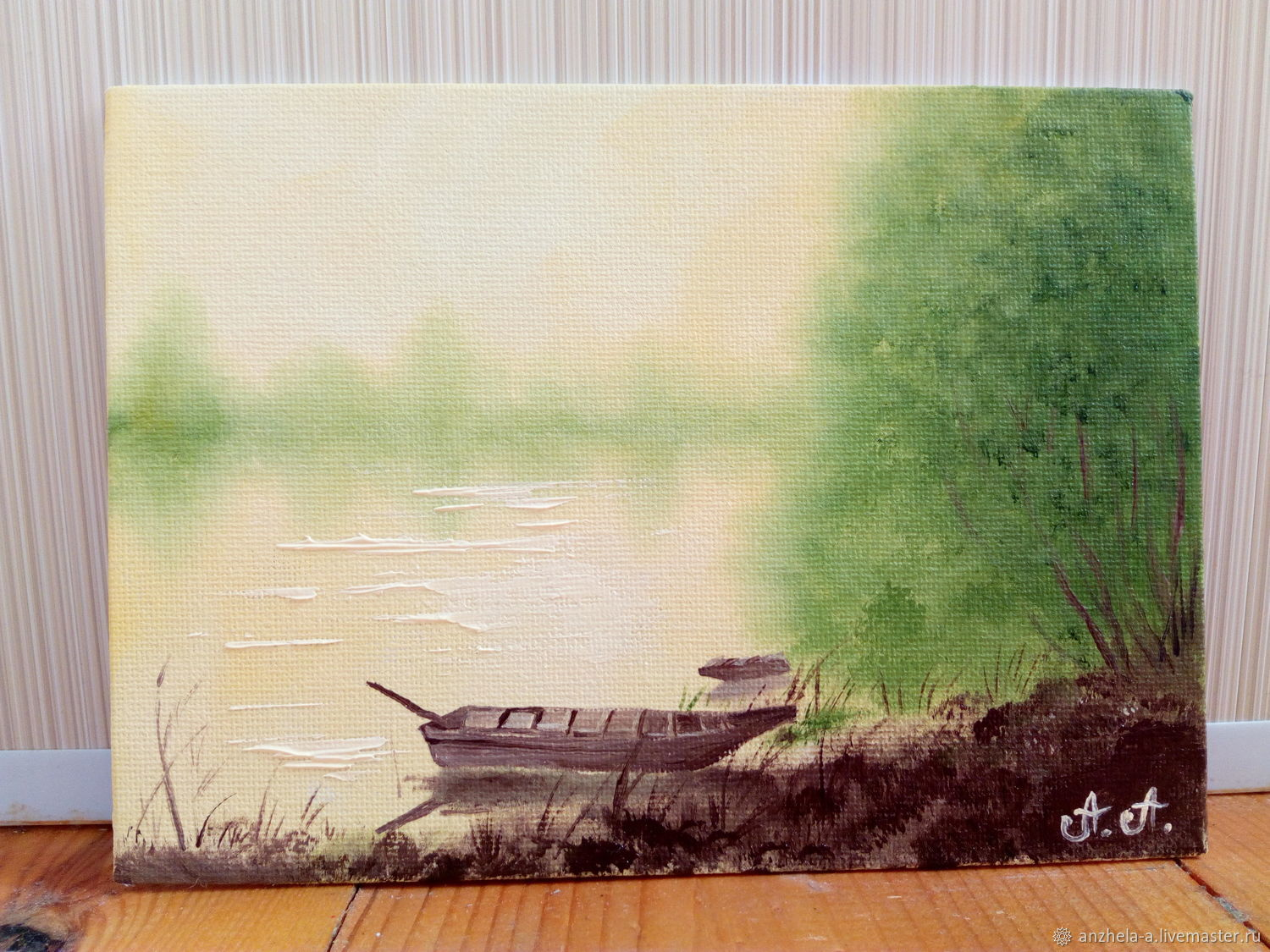'In the emerald of the misty pond ' 13/18 oil on canvas miniature, Pictures, Moscow,  Фото №1