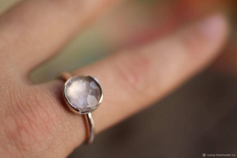 18.5 розовый кварц 10мм Кольцо серебряное, Кольца, Вырица,  Фото №1