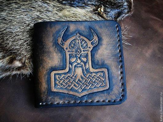 Кошельки и визитницы ручной работы. Ярмарка Мастеров - ручная работа. Купить Кошелек кожаный Викинг мужской кошелек портмоне из натуральной кожи. Handmade.