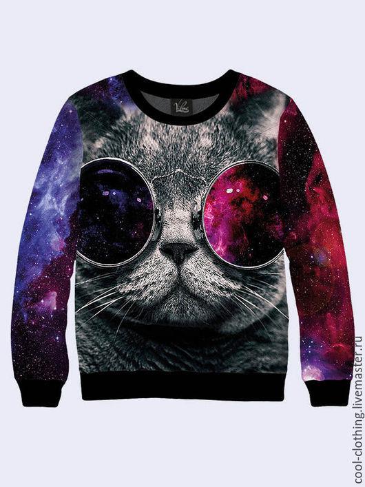 """Кофты и свитера ручной работы. Ярмарка Мастеров - ручная работа. Купить Свитшот """"Космический кот в очках"""". Handmade. Разноцветный"""