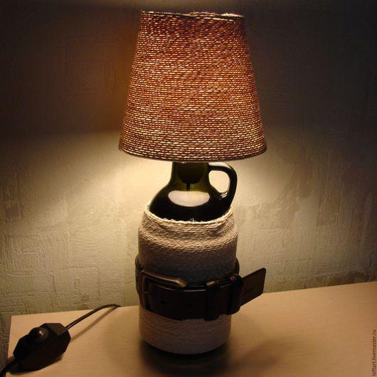 Освещение ручной работы. Ярмарка Мастеров - ручная работа. Купить Лампа настольная Лофт с ремнем. Handmade. Коричневый, диммер, уют