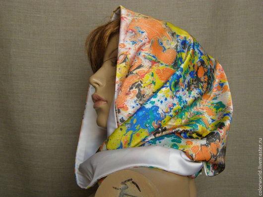 Шарф снуд `Весенние краски` , батик выполнен красками эбру. Авторская работа, точное повторение невозможно