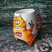 """Посуда ручной работы. Ярмарка Мастеров - ручная работа """"Чаепитие рыжего кота"""" чашка с ножками. Handmade."""