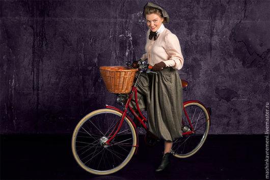 Брюки, шорты ручной работы. Ярмарка Мастеров - ручная работа. Купить Шаровары велосипедные+шапочка. Handmade. В полоску, ретро, шапочка