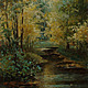"""Пейзаж ручной работы. Ярмарка Мастеров - ручная работа. Купить Картина маслом """"Пруд в лесу"""" (пейзаж, 25на50см). Handmade."""