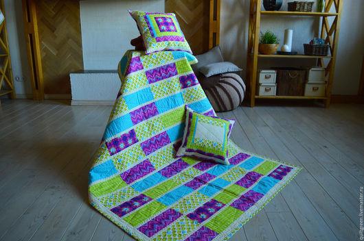 Текстиль, ковры ручной работы. Ярмарка Мастеров - ручная работа. Купить Лоскутное одеяло «Хельсинки» (Helsinki) с  наволочками. Handmade. Разноцветный