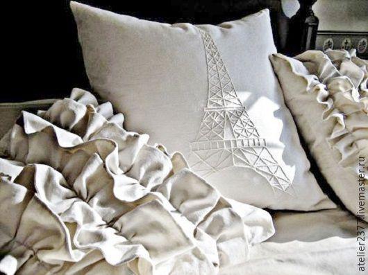 """Текстиль, ковры ручной работы. Ярмарка Мастеров - ручная работа. Купить Декоративные подушки """"Париж"""". Handmade. Белый, подушка декоративная"""