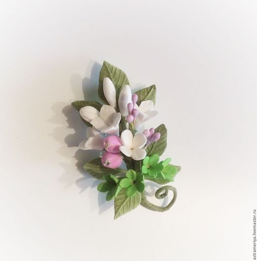Броши ручной работы. Ярмарка Мастеров - ручная работа. Купить Брошь с цветами из полимерной глины Весна пришла. Handmade. Комбинированный