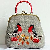 Сумки и аксессуары handmade. Livemaster - original item Bag with bullfinches.. Handmade.