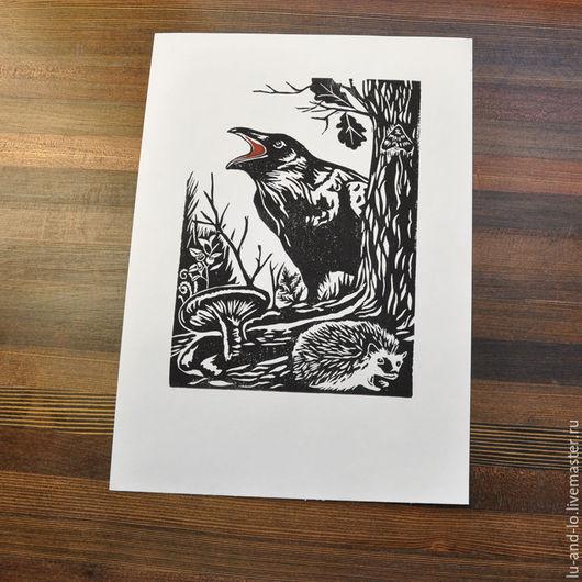 """Абстракция ручной работы. Ярмарка Мастеров - ручная работа. Купить Линогравюра """"Лес прекрасный"""". Handmade. Черный, картина для интерьера, лес"""