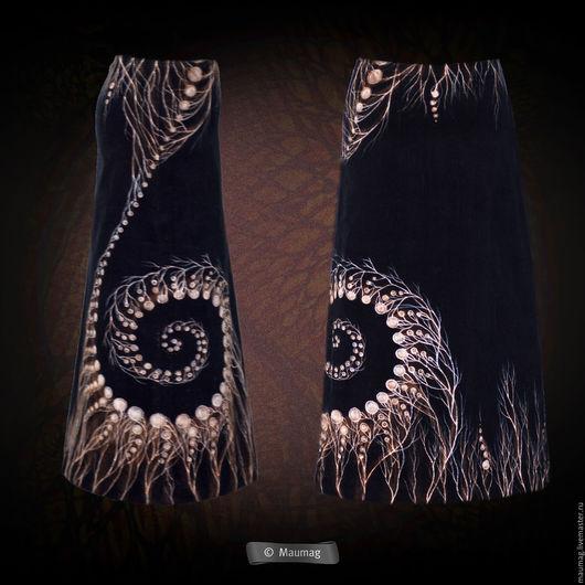 """Юбки ручной работы. Ярмарка Мастеров - ручная работа. Купить Юбка """"Другие миры"""". Handmade. Черный, абстрактный, юбка длинная"""