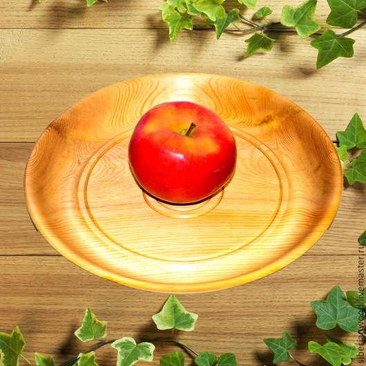 Тарелки ручной работы. Ярмарка Мастеров - ручная работа. Купить Кедровая тарелка 27см, Блюдо из сибирского кедра - ручная работа т12. Handmade.