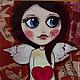 Люди, ручной работы. Картина Девочка Ангел с Крыльями, с Красным Сердцем в Руках. SobolevaArt Соболева Карина. Интернет-магазин Ярмарка Мастеров.