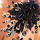 Нарядная цветочная диадема в готическом стиле. Цветочная диадема в готическом стиле с черно-синим жемчугом, сверкающими бусинами и черными каллами из полимерной глины FIMO. Диадема для выпускного бала