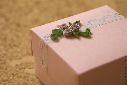 """Подарочная упаковка ручной работы. Ярмарка Мастеров - ручная работа. Купить Коробка """"Нежность"""" 8х8х5см. Handmade. Розовый, коробка подарочная"""