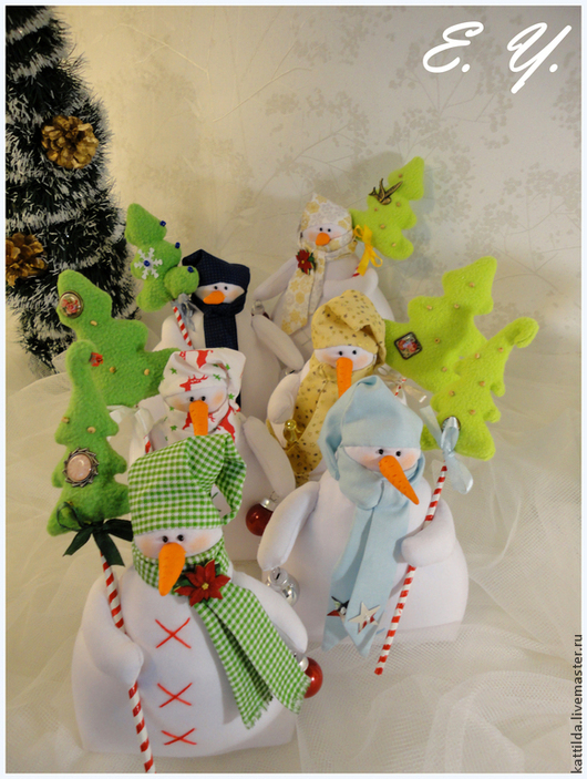 Куклы Тильды ручной работы. Ярмарка Мастеров - ручная работа. Купить Снеговик с ёлкой. Handmade. Белый, новогодние игрушки