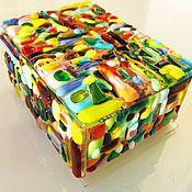 Для дома и интерьера handmade. Livemaster - original item Jewelry box. Box of glass. Fusing. CARNIVAL.. Handmade.