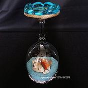 Для дома и интерьера ручной работы. Ярмарка Мастеров - ручная работа Подсвечник из бокала в морском стиле. Handmade.