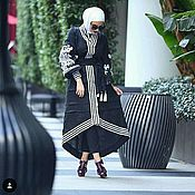 Одежда ручной работы. Ярмарка Мастеров - ручная работа Чёрное платье - халат с белой вышивкой. Handmade.