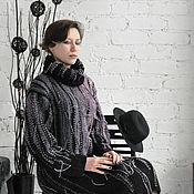 Одежда ручной работы. Ярмарка Мастеров - ручная работа Вязаное платье, черно-сиреневое, с дополнительными аксессуарами. Handmade.