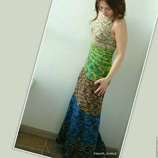 Платья ручной работы. Ярмарка Мастеров - ручная работа. Купить Длинное вязаное платье из хлопка. Handmade. Вязаное платье