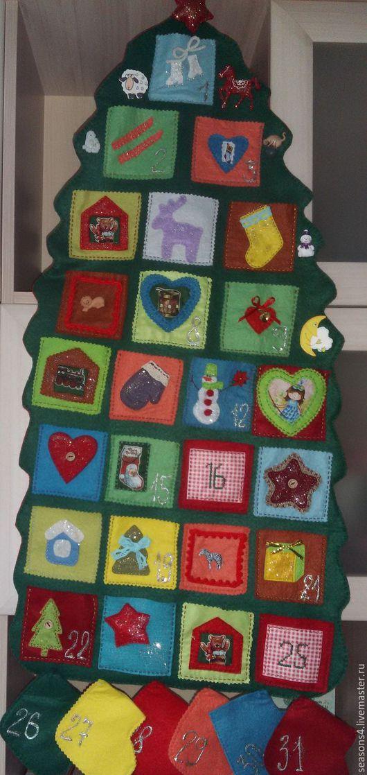 """Детская ручной работы. Ярмарка Мастеров - ручная работа. Купить новогоднее панно из фетра  """"Ёлочка """"адвенткалендарь. Handmade. Тёмно-зелёный"""