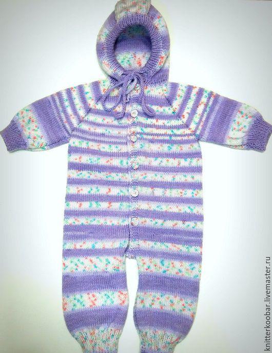 Одежда ручной работы. Ярмарка Мастеров - ручная работа. Купить Детский полосатый комбинезон. Handmade. Сиреневый, вязание на заказ