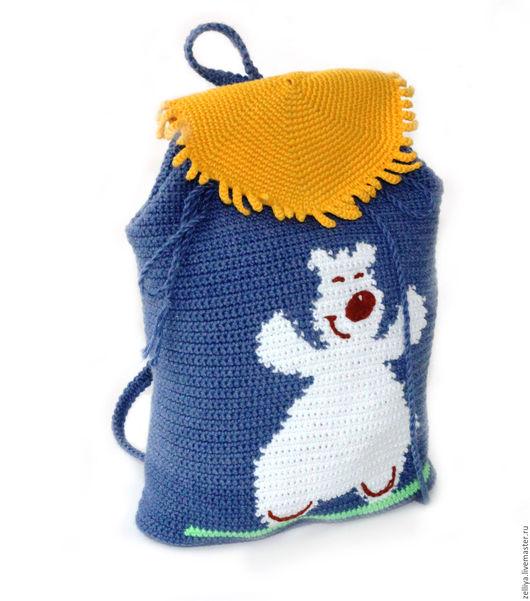 """Рюкзаки ручной работы. Ярмарка Мастеров - ручная работа. Купить Рюкзак детский вязаный """"Мишка на юге"""", рюкзачок. Handmade."""