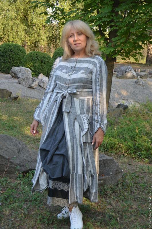 Платья ручной работы. Ярмарка Мастеров - ручная работа. Купить летнее Платье- пальто  бохо стиль Полосочка. Handmade. Серый