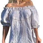 Одежда handmade. Livemaster - original item Summer blouse made of cotton and lace in boho style Adaline white black. Handmade.