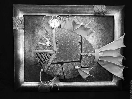 Животные ручной работы. Ярмарка Мастеров - ручная работа. Купить Картина из кожи Техно-рыба. Объемная картина из кожи.. Handmade.