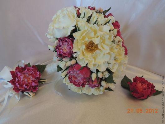 Свадебные цветы ручной работы. Ярмарка Мастеров - ручная работа. Купить Свадебный букет из пион. Handmade. Свадьба, шиповник