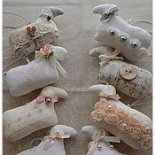 Сувениры и подарки handmade. Livemaster - original item Sheep vintage shabby chic symbol of the year toys for Christmas tree Easter sheep. Handmade.