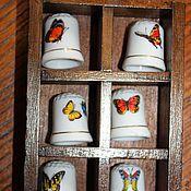 Винтаж ручной работы. Ярмарка Мастеров - ручная работа 6 коллекционных напёрстков в дубовой рамке с бабочками, Герм. Handmade.