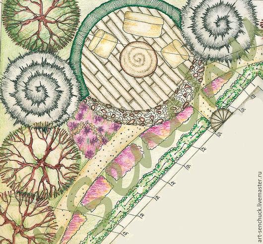 Ландшафтный дизайн ручной работы. Ярмарка Мастеров - ручная работа. Купить Эскизирование ландшафтной организации территории. Handmade. Комбинированный, эскиз