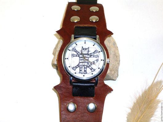 """Часы ручной работы. Ярмарка Мастеров - ручная работа. Купить Наручные часы """"Кот да Винчи"""". Handmade. Коричневый"""