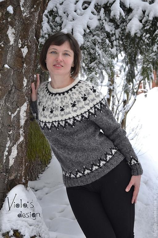 """Кофты и свитера ручной работы. Ярмарка Мастеров - ручная работа. Купить Серый свитер """"Руны"""" в стиле Lopapeysa. Handmade."""