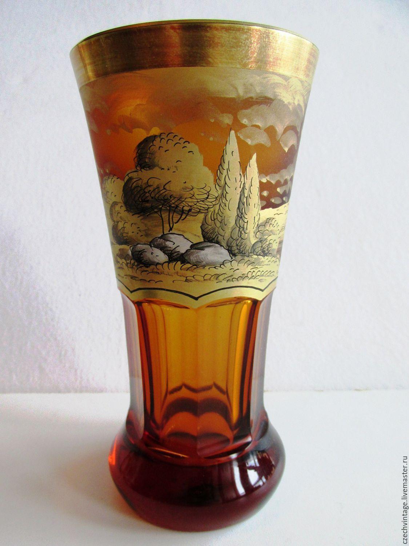 BOHEMIAN GLASS VASE HAND PAINTED 2 piece excellent condition, Vintage interior, Prague,  Фото №1