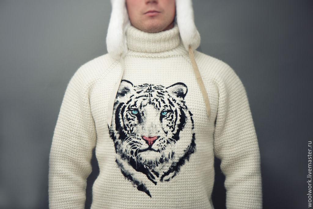 Белый вязаный мужской свитер (ручная работа) Тигр – купить ...