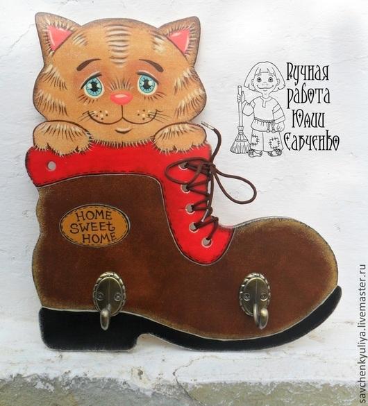 """Прихожая ручной работы. Ярмарка Мастеров - ручная работа. Купить Ключница """"Кот в ботинке"""". Handmade. Ключница настенная, ключница с котом"""