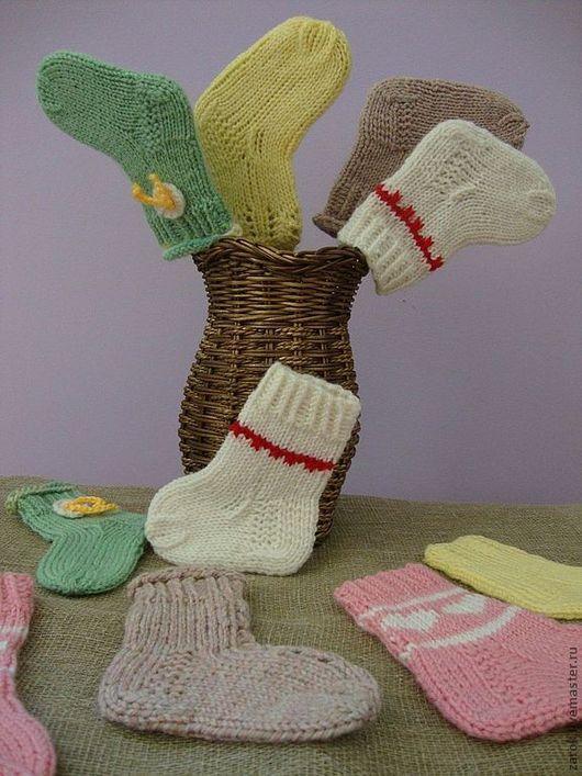 """Для новорожденных, ручной работы. Ярмарка Мастеров - ручная работа. Купить Носочки """"Самые первые"""". Handmade. Однотонный, новорожденному, теплый"""