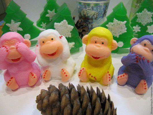 """Мыло ручной работы. Ярмарка Мастеров - ручная работа. Купить Сувенирное мыло """" Веселые обезьянки """". Handmade. Комбинированный"""
