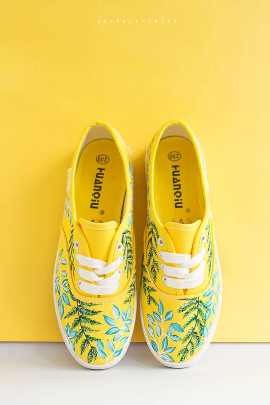 Обувь ручной работы. Ярмарка Мастеров - ручная работа. Купить Желтые Кеды с росписью Fresh Grass. Handmade. Кеды
