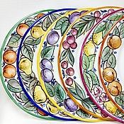 Посуда handmade. Livemaster - original item Painting porcelain Set plates Fruit rainbow. Handmade.