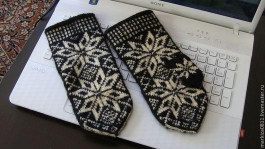 Варежки, митенки, перчатки ручной работы. Ярмарка Мастеров - ручная работа. Купить эстонские варежки. Handmade. Черный