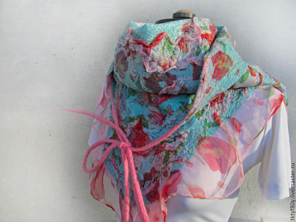 Купить Бактус валяный - бактус, бактус валяный, бирюзовый, платок, платок валяный, шарфик